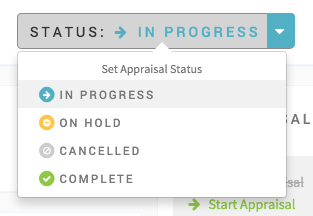 Select your status from the dropdown. The order will automatically be updated to reflect the changed status.